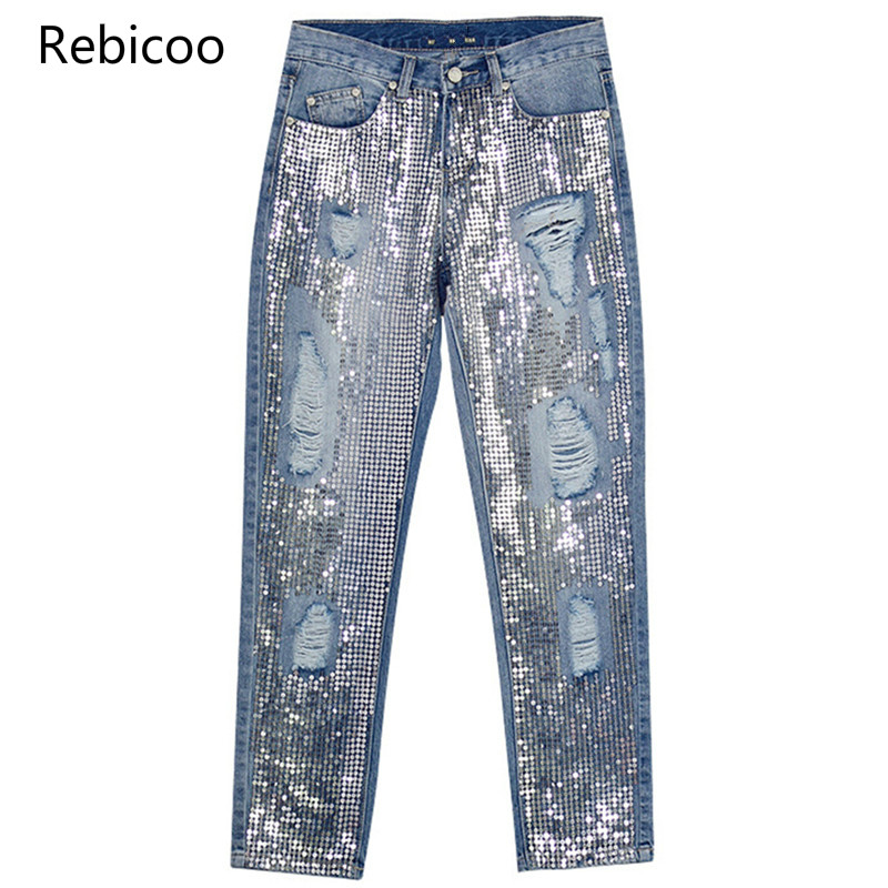 Vintage New Boyfriend Jeans Ripped Denim Sequined Tassel Jeans For Women Plus Size Cowboy Pants Women Ripped Pants Denim Femme