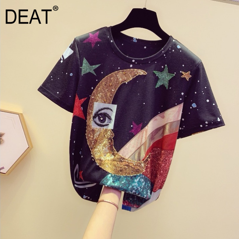 DEAT 2019 new spring fashion women clothes round neck short sleeves sequins printed female tide Tshirt tees WF25009L-in T-Shirts from Women's Clothing on AliExpress - 11.11_Double 11_Singles' Day 1