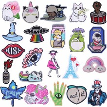 Pulaqi Rainbow UFO Patches Embroidered Sticker Cartoon Cat Iron-on Badge Decor For Jeans On Garment DIY Kawaii Accessories