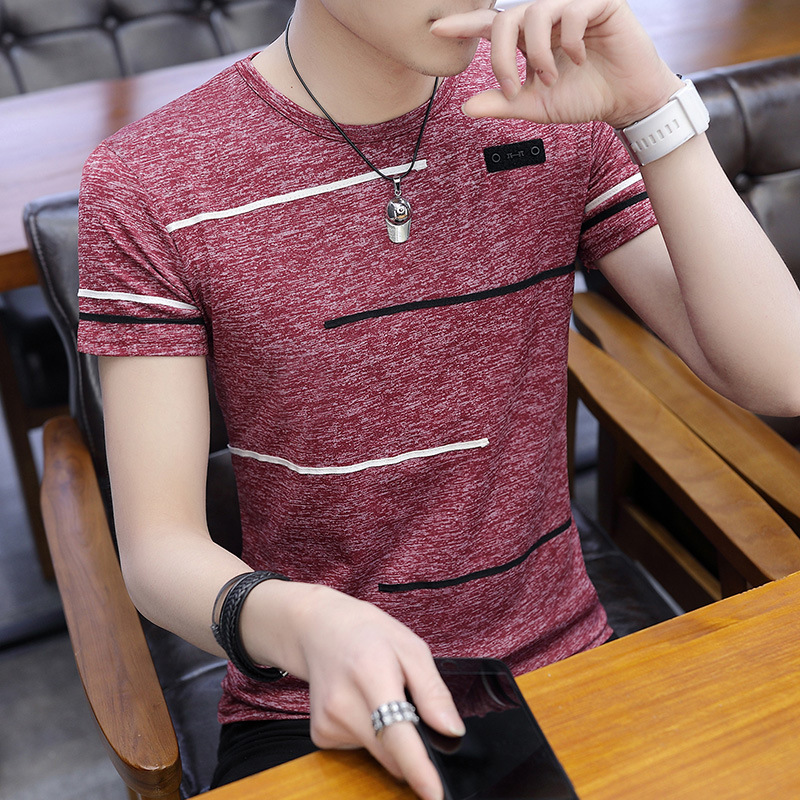 Korean Short Sleeve   T     Shirt   Man O Neck Polyester Mens   T     Shirt   Summer Cool Tee Male Slim Casual Tee   Shirts   Homme Plus Size
