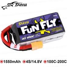 Аккумулятор Tattu FunFly 1550 мАч 100C 14,8 в, литий-полимерный аккумулятор XT60, разъем для FPV, тренировочный каркас, 250 230 210 180 Размер, гоночный Дрон