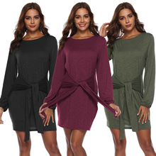 2018 Autumn Winter Cotton T shirt Dresses Women Bow Tie Waist Bodycon Dress Casual Elegant Woman O-Neck Long Sleeve Mini Dress