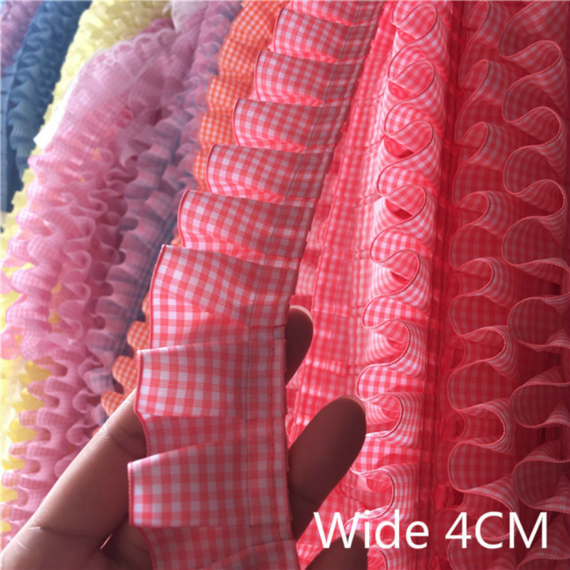 4cm Wide Plaid Pleated Cloth Tulle Lace Ruffle Ribbon Edge Trim For Collar Applique Sofa Curtain Diy Sewing Guipure Supplies