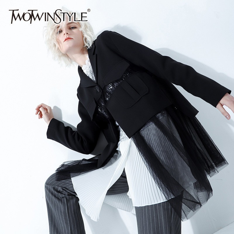 TWOTWINSTYLE Patchwork Mesh Blazer Coat Female Single Button Long Sleeve Perspective Coats Women 2019 Spring Casual