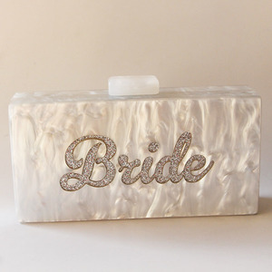 Image 2 - Pearl White  Silver Glitter Name Bride Personal Fashion Party Beach Summer Lady Acrylic Claps Women Box Clutches Purse Wallet