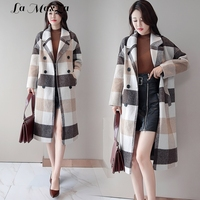 Casual Plaid Long Women Turn down Collar Wool Coat Winter Jacket Double Breasted Loose Regular Cashmere Coat 2018