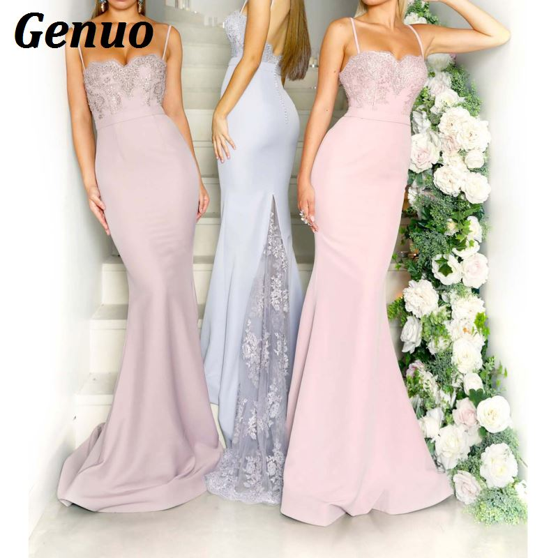 Genuo Elegant Lace Maxi Dress Women Sexy Bandage Dress for Wedding Party night Bridesmaid Floral Lace Dress vestidos de fiesta in Dresses from Women 39 s Clothing