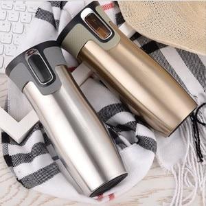 Image 3 - 450ml 16oz AUTOSEAL Taza de Viaje termo café taza de vacío de acero inoxidable tazas aisladas termo de agua botella de té termal tazas automáticas