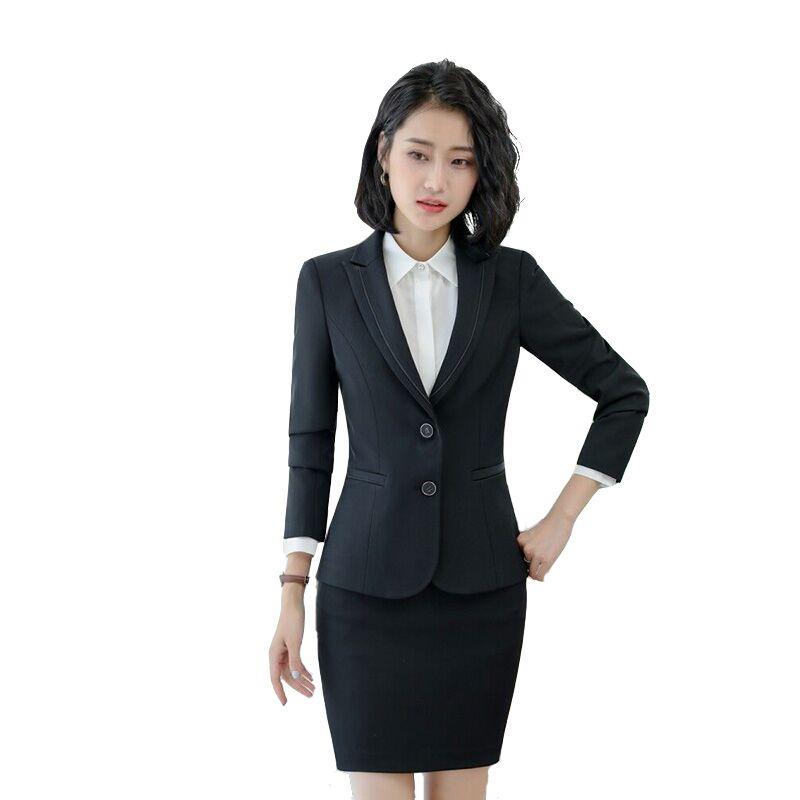 2018 femme entreprise Interview costume Blazer + jupe élégante 2 pièces costume bureau uniforme femmes à manches longues vêtements de travail
