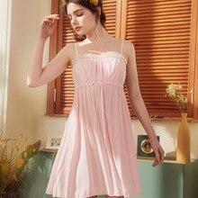 2019 Summer Pink Cute Princess Nightgown Woman Spring Nightgowns Lace Sleepwear Cotton Sleepshirts White Nightdress