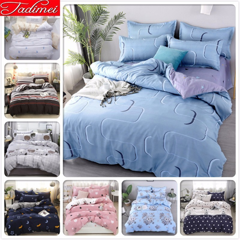 Blue Gray AB Double Side Duvet Cover 3/4 Pcs Bedding Set Adult Child Bed Linen Soft Cotton Bedspread Single Full Queen King Size