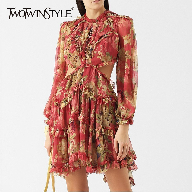 TWOTWINSTYLE Casual Print Backless Bandages Women Dress Stand Lantern Sleeve Ruffles Mini Dresses Female Fashion 2019