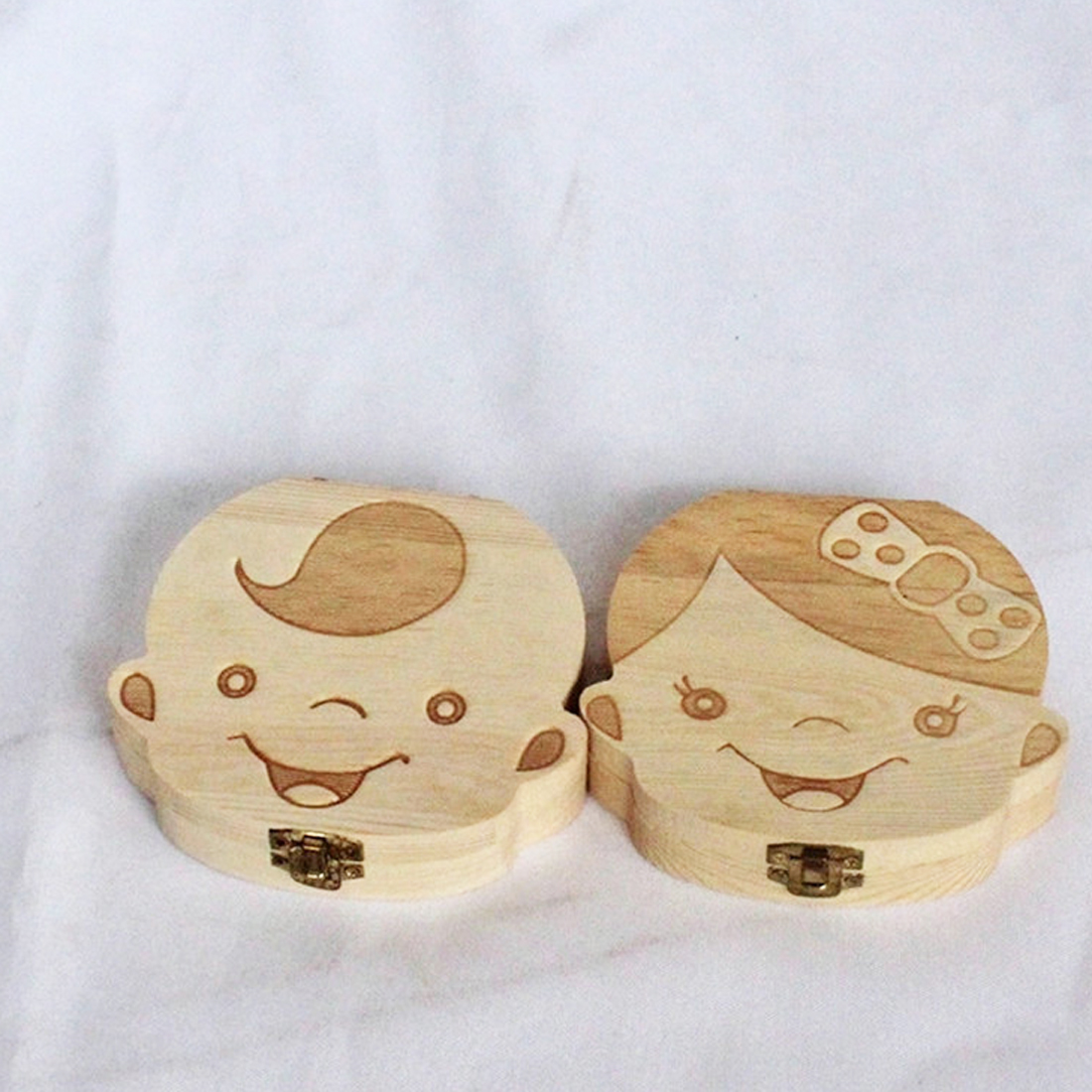 Wooden Baby Tooth New English  Box Organizer Save Teeth Umbilical Cord Milk Tooth Storage Box For Boy Girl