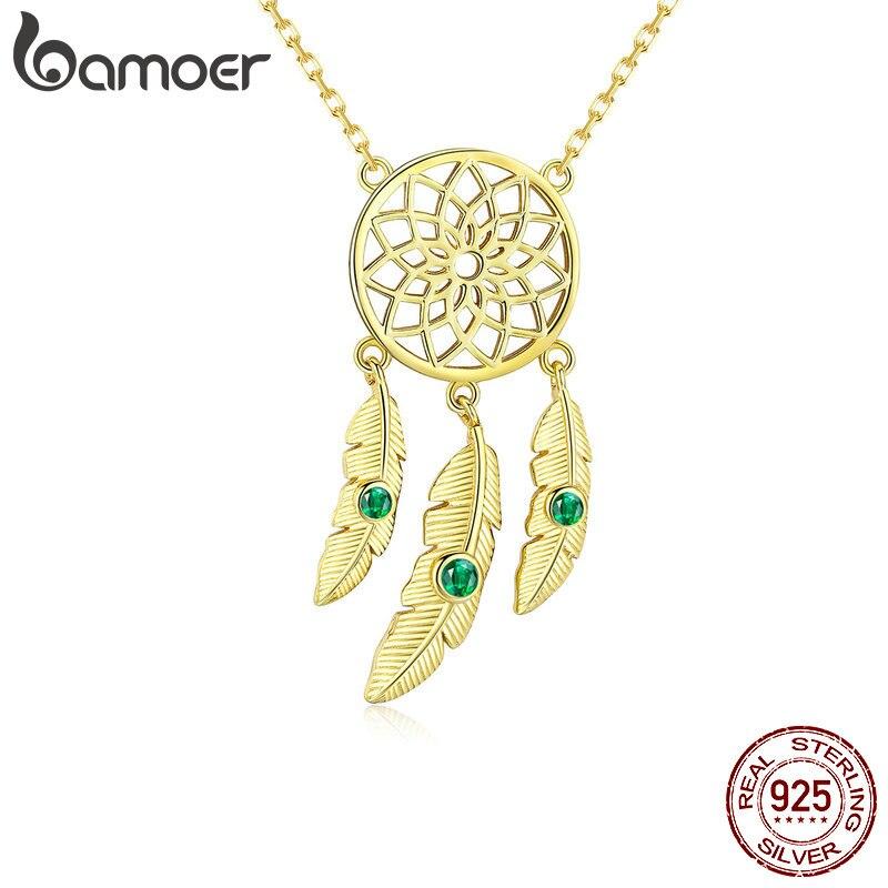 BAMOER 2019 nuevo 100% Plata de Ley 925 atrapasueños colgantes collares para mujeres oro Color cuero joyería de lujo BSN044