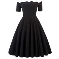 party dress Retro Vintage Solid Color Short Sleeve Off Shoulder office business evening summer laides Flared A Line Dress women