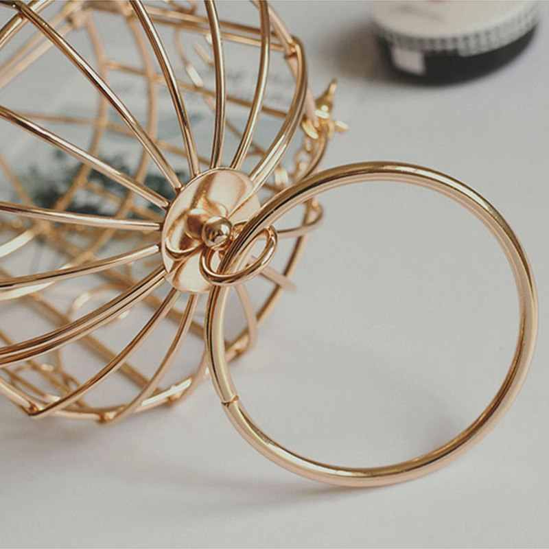 Personality Bird Cage Women Handbag Tote Metal Cage Girls Top-Handle Bags Coin Purse Fashion Party Pouch Tassel Clutch Champag
