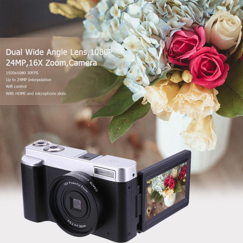 P12 Flip Screen WIFI FHD 1080P 24MP 16X Zoom Digital Camera Video Recorder HD digital camera WIFI double wide angle lens