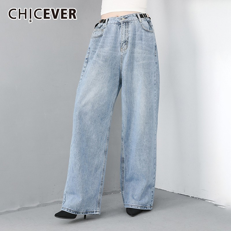 CHICEVER Spring Denim Trousers For Women Jeans Loose Big Size Pants Slim High Waist Plus Size Wied Leg Pants Female 2019 Fashion