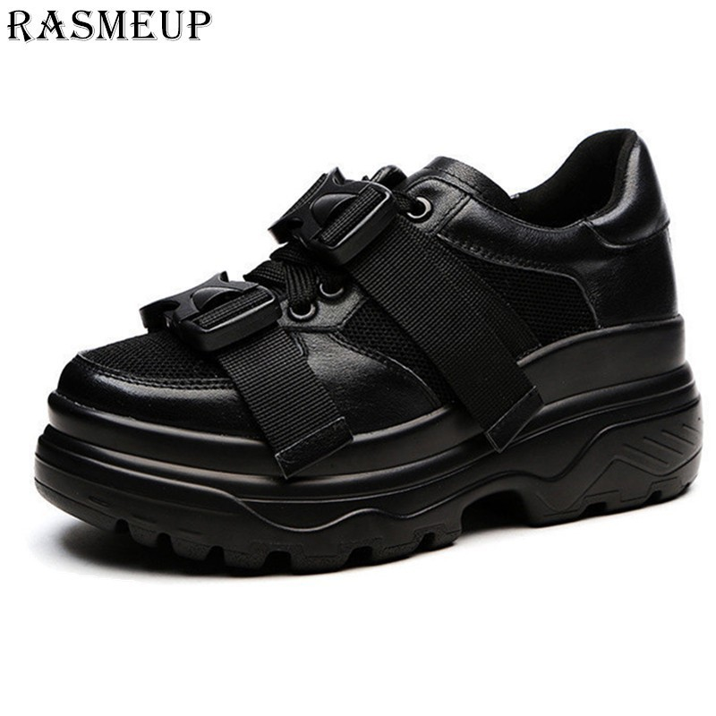 ed73fe1447 RASMEUP Plus Size 42 Genuine Leather Mesh Women's Chunky Sneakers 2019  Fashion Women Flat Platform Shoes Woman Dad Trainers
