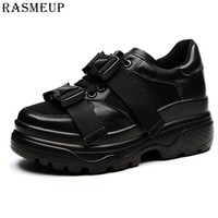 RASMEUP Plus Size 42 Genuine Leather Mesh Women's Chunky Sneakers 2019 Fashion Women Flat Platform Shoes Woman Dad Trainers