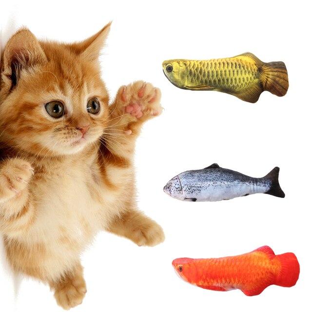 Pelúcia Criativo 3D Carpa Peixe Forma Cat Toy Presente Bonito Simulação Peixes Que Jogam o Brinquedo Para Presentes Pet Catnip Peixe Recheado boneca travesseiro