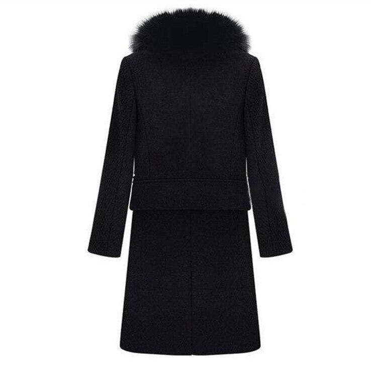 Hiver Col Long En Taille Femmes Automne Laine Fins Manteaux Chaud Noir Survêtement 2018 Épaississement De Grande Manteau Solide Nouveau Fourrure xwzgq0E