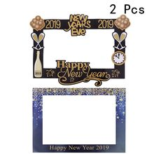 2 Pcs Paper 2019 Happy New Year New Years Eve Photo Picture Booth Props for 2019 New Years Christmas Birthday Holiday Wedding(China)
