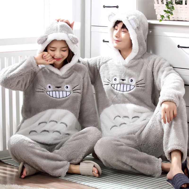 Flannel winter ladies warm pajamas set flannel cartoon hooded couple casual thick hot evening wear