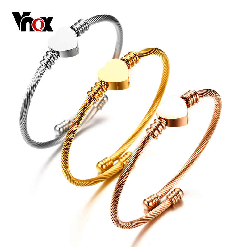 Vnox Triple 3 Stainless Steel Cable Wire Cuff Twisted Bangle Bracelet Fashion Heart Bangle Bracelets Set for Women Jewelry