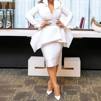 Summer Elegant Party White OL Lady African Style Women 2 Pieces Sets Causal Plus Size Coats Bodycon Skirts Ruffles Female Suits