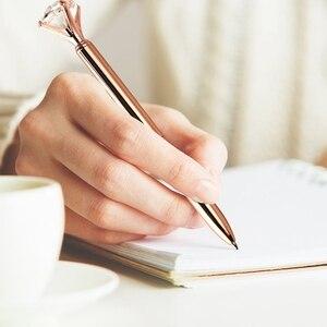 Image 5 - 12 sztuk duży diament kryształowe kulkowe długopisy i 12 sztuk długopisy wkłady długopisowe, czarny tusz (różowe złoto)