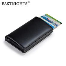 EASTNIGHTS Genuine Leather Credit Card Holder Men Rfid Protection Business Case Metal Wallet for Cards TWB037