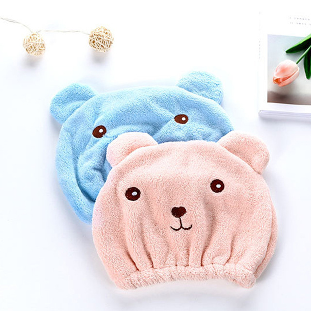 Head Wrap Dry Hair Cap Cartoon Hat Cute Bear Soft Quick-dry Strong Absorbing Towel Shower