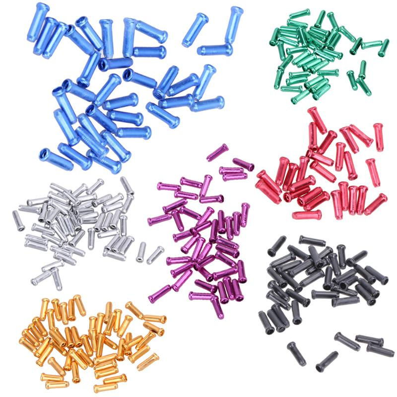 50 Pcs/Lot Aluminum Alloy MTB Bike Bicycle Brake Cable Tips Crimps Bicycles Derailleur Shift End Caps Core Inner Wire Ferrules
