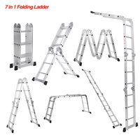 iKayaa Multi Purpose Step Ladder Folding Scaffold Aluminum Extension Ladder Work Platform Safety Locking Hinge 330LB/150KG