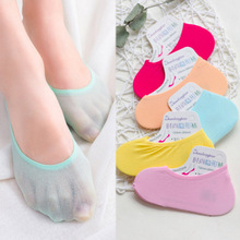 Sale 1Pair Summer Silicone Slip Womens Boat Socks Ankle Low Female Invisible Candy Color Wholesale