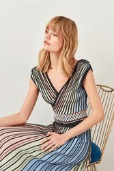 Trendyol Multicolour Silvery Ribbed Summer Knitwear Bluz TCLSS19DU0034