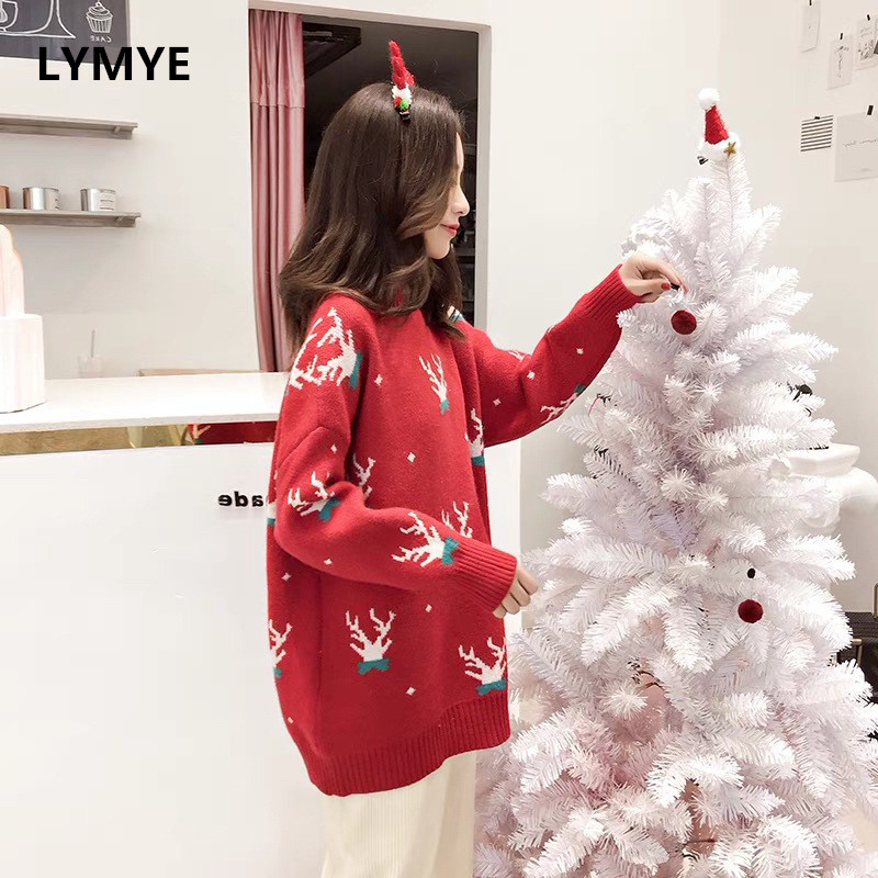 Knitted Elk Deer Christmas Sweater New Year Autumn Winter Long Sleeve High Neck Women Pullovers and Sweaters Female Clothes
