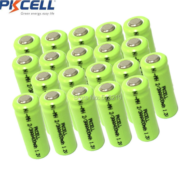 20PCS PKCELL 2/3AAA 400mah 1.2v NIMH 2/3 AAA Rechargeable Battery Batteries NI-MH Flat Top For LED Solar Light
