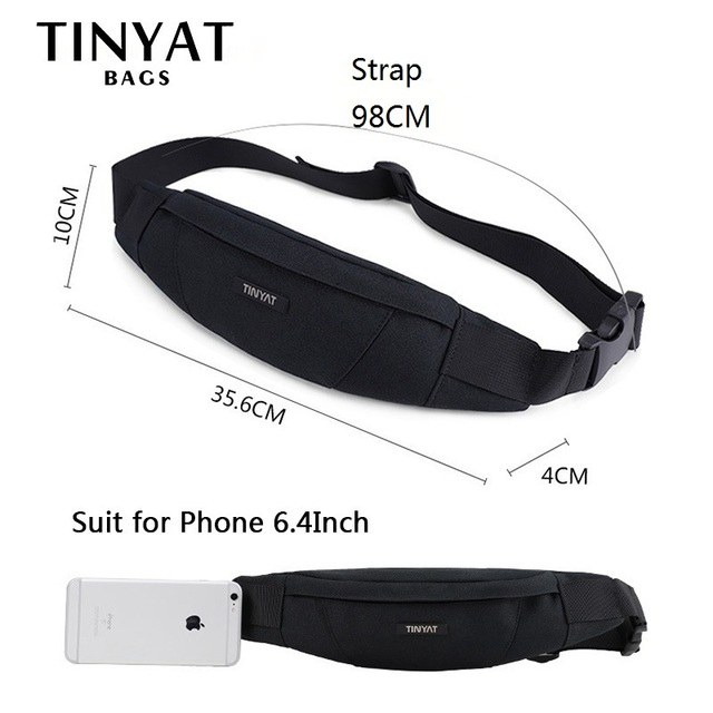 TINYAT Men Waist Bag pack Purse Waterproof Canvas Travel Phone belt bag pouch for Men Women Casual Shoulder Fanny Pack Hip Pack