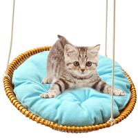 Cat Wicker Woven Hammock Climbing Jumping Platform Cat Bed Resting Entertainment House Cat Breathable Swing Pad Blanket