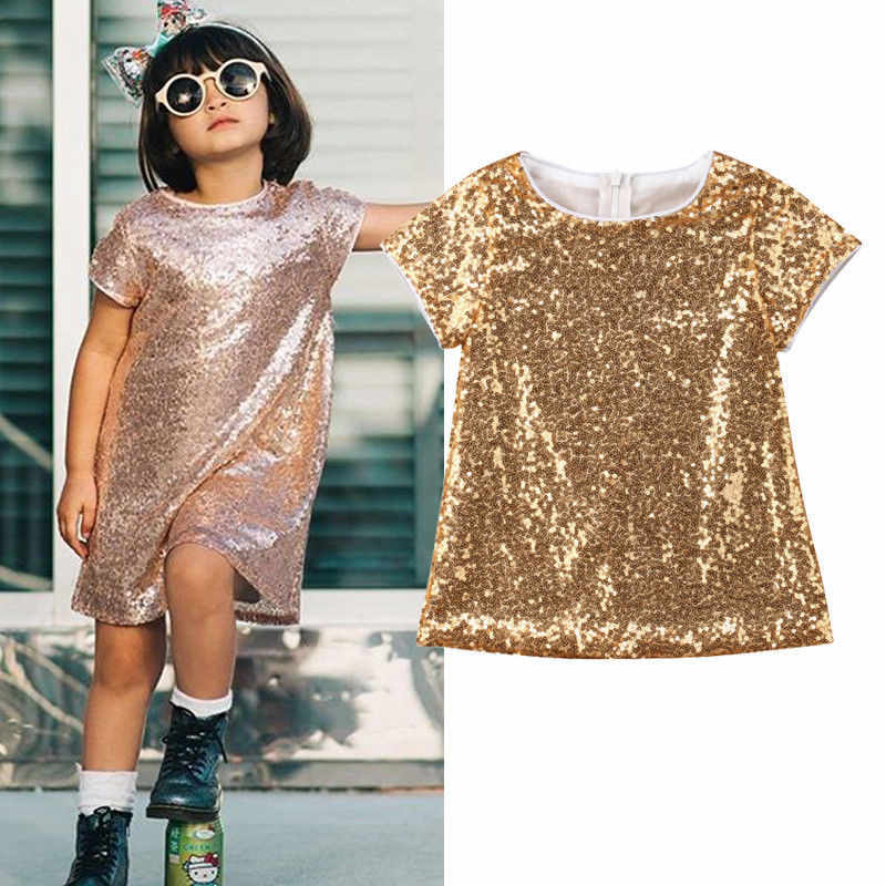 2019 Stylish Baby Kids Girl Gold Sequins Dress Summer Short Sleeve Party Pageant Gown Formal Dress Sundress 1-5T
