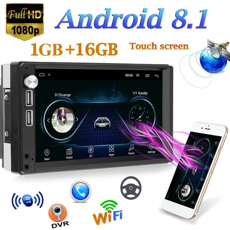 ANYTEK voiture DVR Dash caméra A5 7 pouces écran tactile Android 8.1 voiture stéréo MP5 lecteur GPS Navi FM Radio WiFi BT4.0 U unité de tête de disque