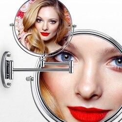 Хром круглый серебряный расширение 8 дюйм(ов) ов) косметический настенный макияж зеркало для бритья ванная комната зеркало 7x/10 x увеличение