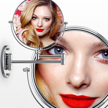 Chrome Round Silver Extending 8 inches cosmetic wall mounted make up mirror shaving bathroom mirror 7x/10 x Magnification недорого