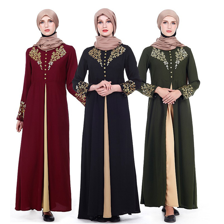 2019 Eid Mubarak Worship Service Woman Muslim Abaya Dress Black Gold Printing Long Arab Malaysia Islamic Long Robe Cardigan