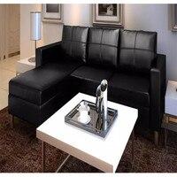 VidaXL синтетический черный секционный 3 местный диван кожа подходит для места для отдыха, просмотра телевизора, или отдыха с семьей