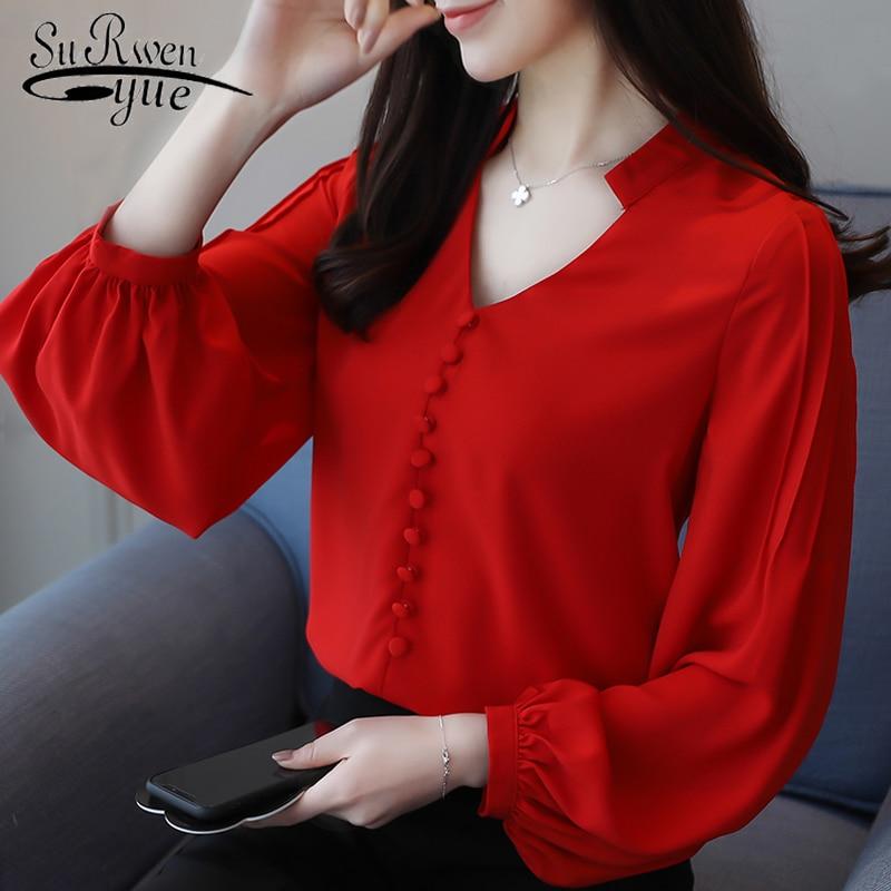 fashion womenstops and   blouses   chiffon   blouse     shirt   V-neck office work wear long sleeve women   shirts   blusas femininas 0603 60