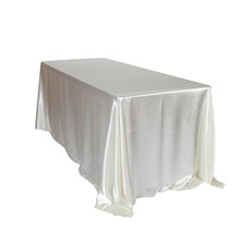 145x320cm White/Black Tablecloths Table Cover Rectangular Satin Tablecloth for Wedding Birthday Party Hotel Banquet Decoration(China)