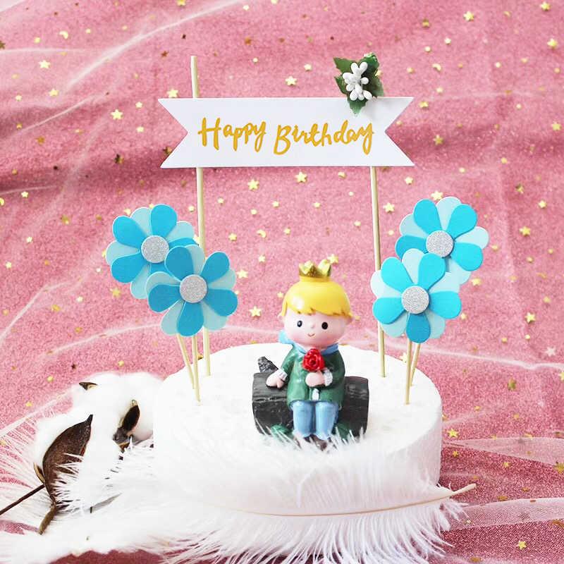 דקורטיבי כרטיס 1 חתיכה אפיית עוגת שיער כדור happybirthday יום הולדת פרח דגל כחול כדור מסיבת אבקת כדור